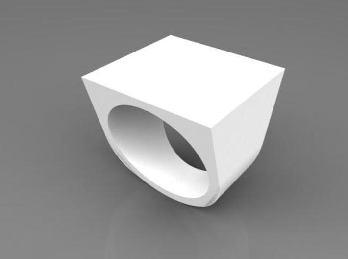 Square Ring 3d printed White Plastic