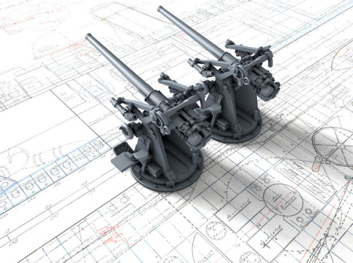 "1/192 12-pdr 3""/45 (76.2 cm) 20cwt Guns x2 3d printed 3d render showing product detail"