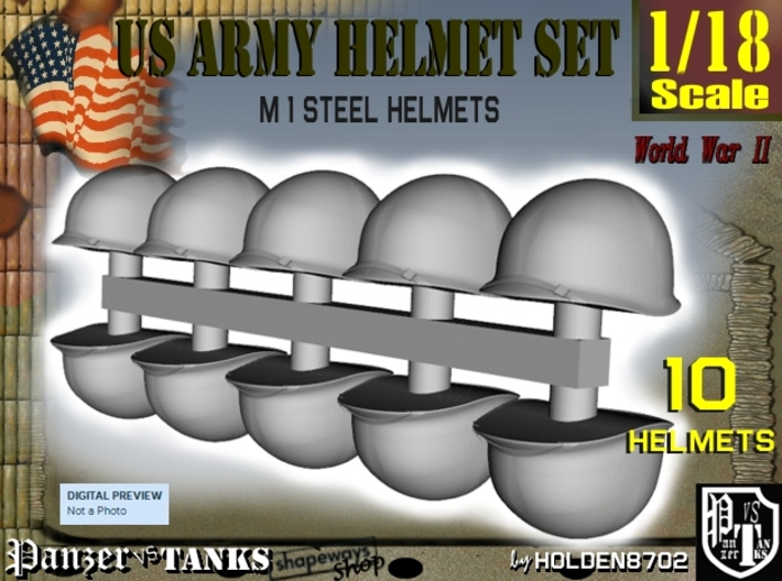 1/18 US M1 Helmets Set1 3d printed