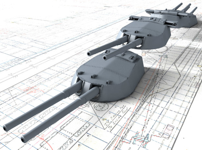 "1/700 15"" MKI 'R' & Queen Elizabeth Class Guns x4 3d printed 3d render showing set"