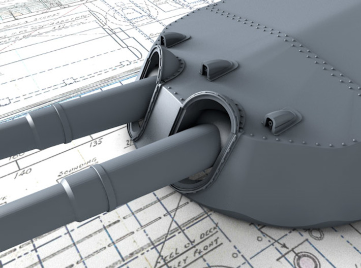 "1/700 15"" MKI* HMS Queen Elizabeth Guns 1943 x4 3d printed 3d render showing Turret face and 'Eyebrows'"