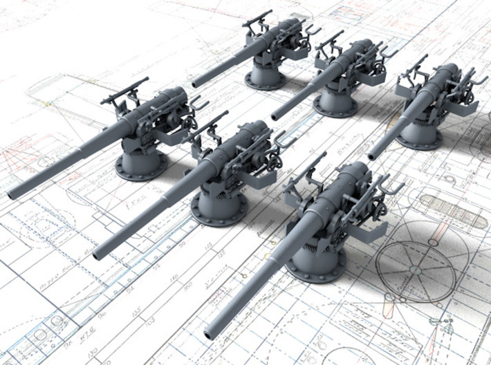 1/100 SMS Emden 10.5cm/40 SK L/40 Shields x6 3d printed 3d render of 6 gun set with brackets for these shields (NOT included)