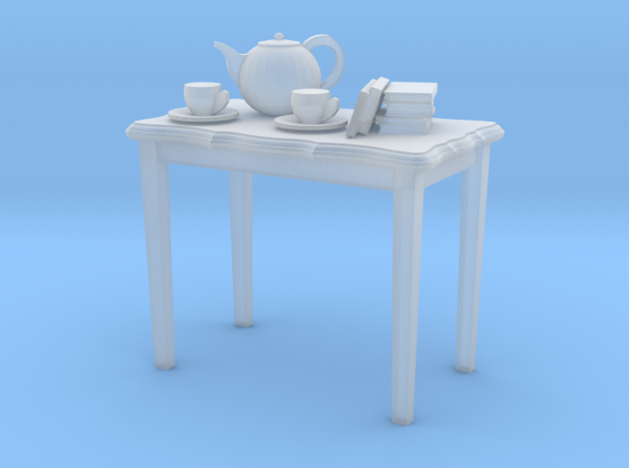 HO scale 2 foot side table with tea pot, cups & a 3d printed