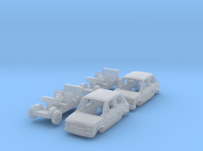 SET 2x Fiat 126 (TT 1:120) 3d printed