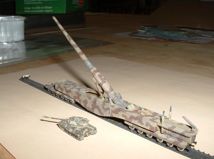 "28cm Railway Gun K5 (E) ""Leopold"" 1/285 6mm 3d printed"