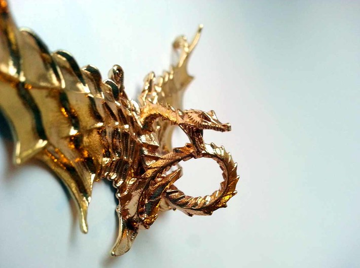 LUX DRACONIS Pendant 002 3d printed LUX DRACONIS dragon pendant 002, 3D printed in brass