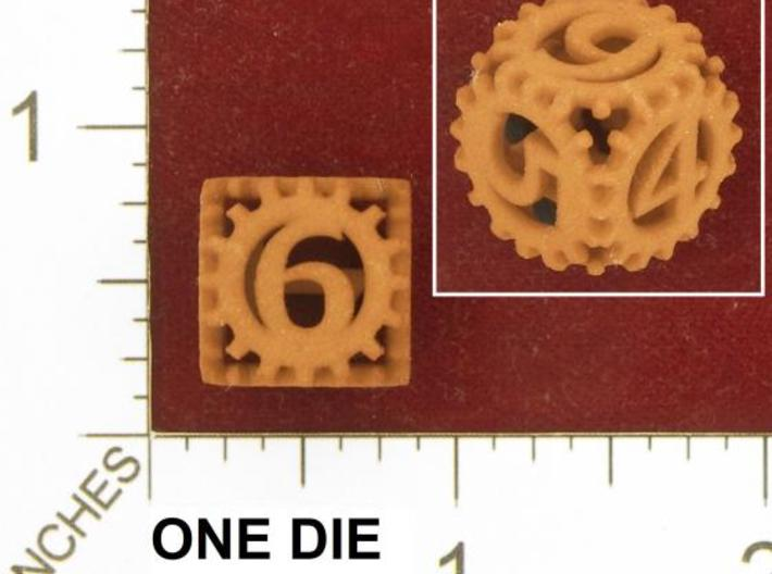 Static Gear Die (D6) 3d printed Photo by Kevin Cook in an early, unpolished, orange strong and flexible.
