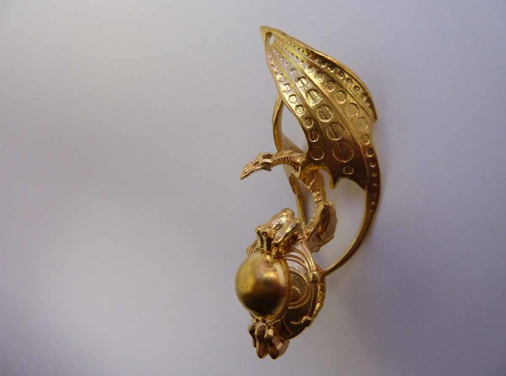 LUX DRACONIS left earring 3d printed LUX DRACONIS dragon earring for left ear, 3D printed in brass
