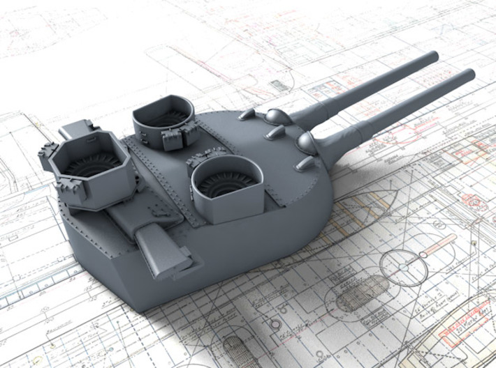 1/600 MKI* HMS Renown Guns 1942 with Blast Bags 3d printed 3d render showing B Turret detail
