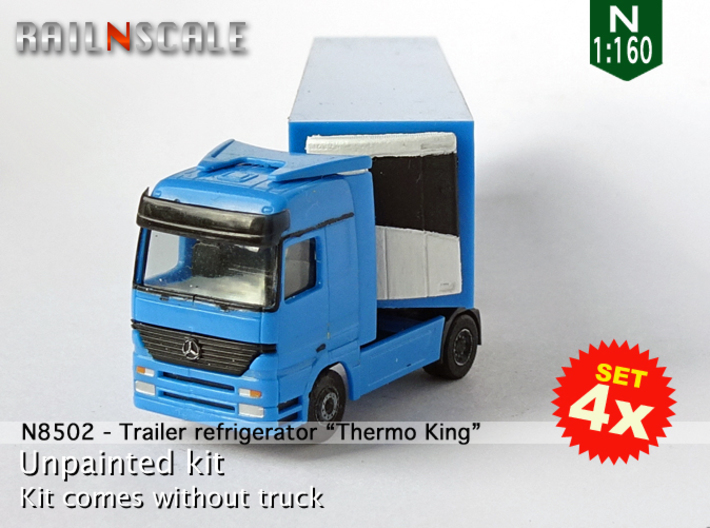 """SET 4x Trailer refrigerator """"Thermo King"""" (N 1:160 3d printed"""