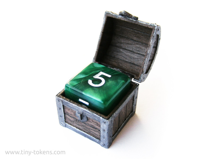MTG Treasure Chest Token (16 mm dice chest) 3d printed Hand painted White Strong & Flexible