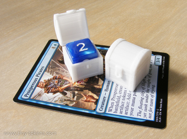 MTG Treasure Chest Token (16 mm dice chest) 3d printed