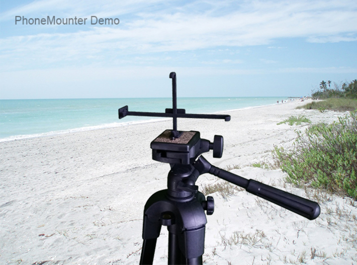 Apple iPhone X tripod & stabilizer mount 3d printed PhoneMounter mounted on a tripod