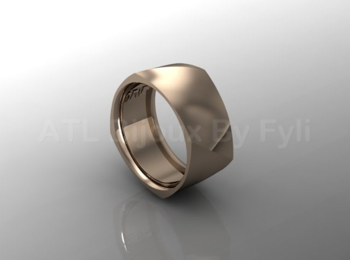 Band with Twisted Cushion Shape. 3d printed Wide band with twist - rose gold