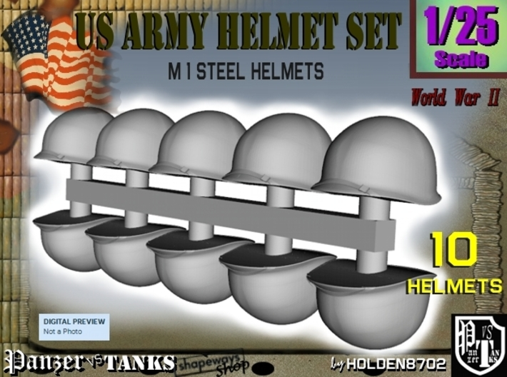 1/25 US M1 Helmets Set1 3d printed