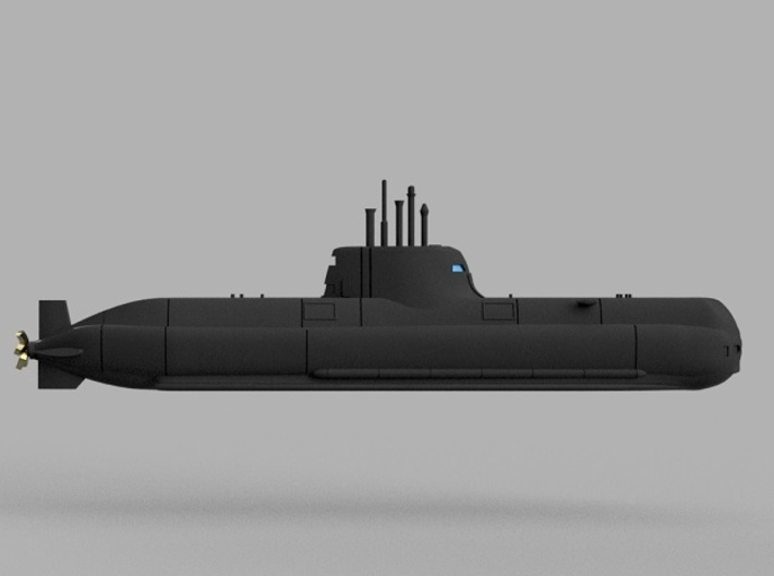 1/2000 Type 214 submarine 3d printed Computer software render.The actual model is not full color.