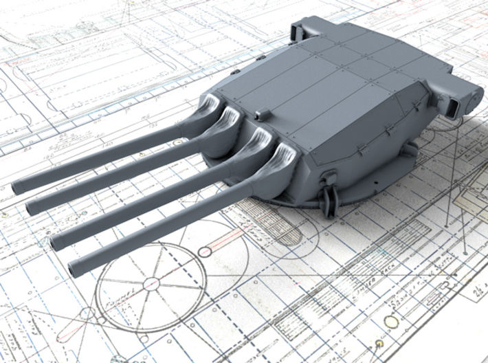 "1/400 Dunkerque 330 mm/50 (13"") Guns w. Blast Bags 3d printed 3d render showing Turret I detail"