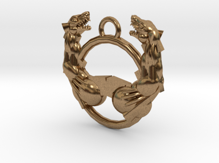 Confronting Beasts Pendant 3d printed