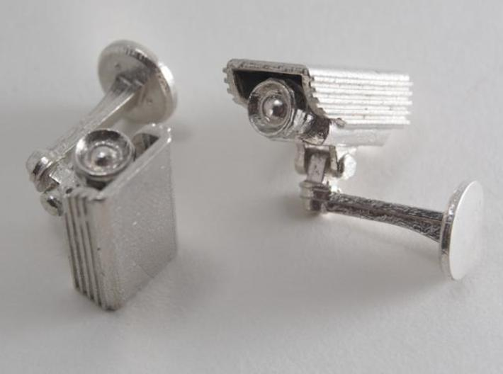 CCTV surveillance camera cufflinks 3d printed White background 2