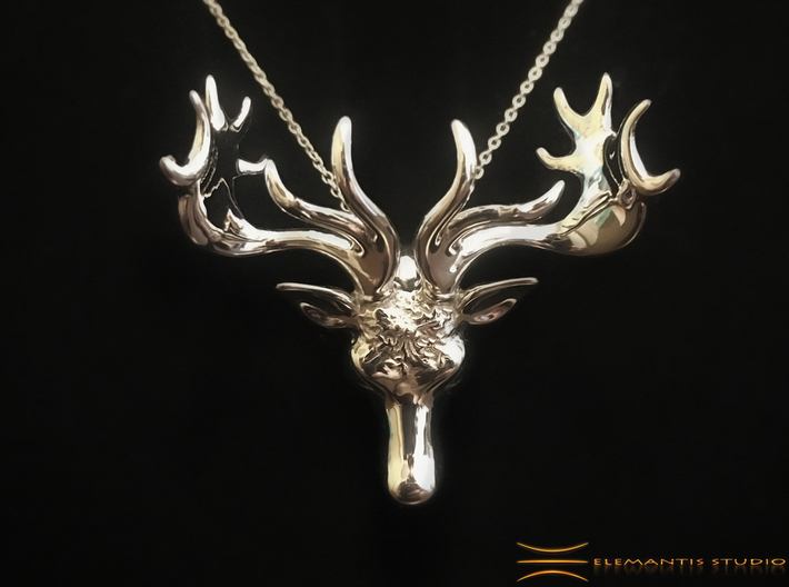 Mistletoe Reindeer Pendant/ Ornament 3d printed Small version in Rhodium Plated on Black fabric  (Chain not included)