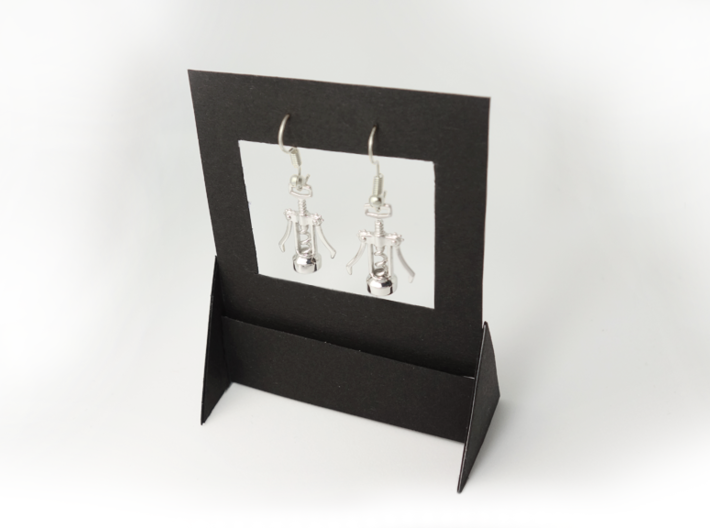 Corkscrew Earrings 3d printed Rhodium plated variant