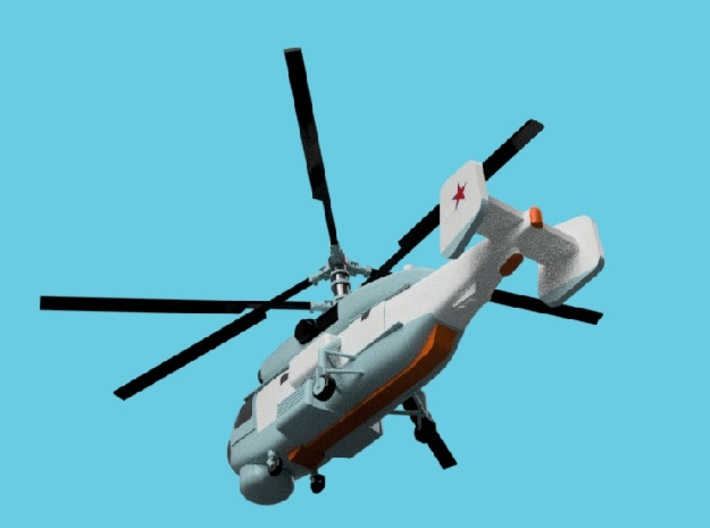 1/2000 Russian Navy aircraft set No.2 3d printed Kamov Ka-27PS.Computer software render.The actual model is not full color. Not exactly same for 1/2000 model.