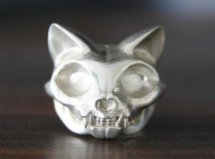 Cat Skull Ring 3d printed This material is Polished Silver