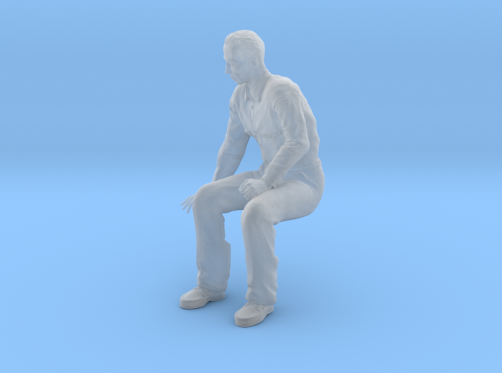NG Fred sitting on bench looking down 3d printed