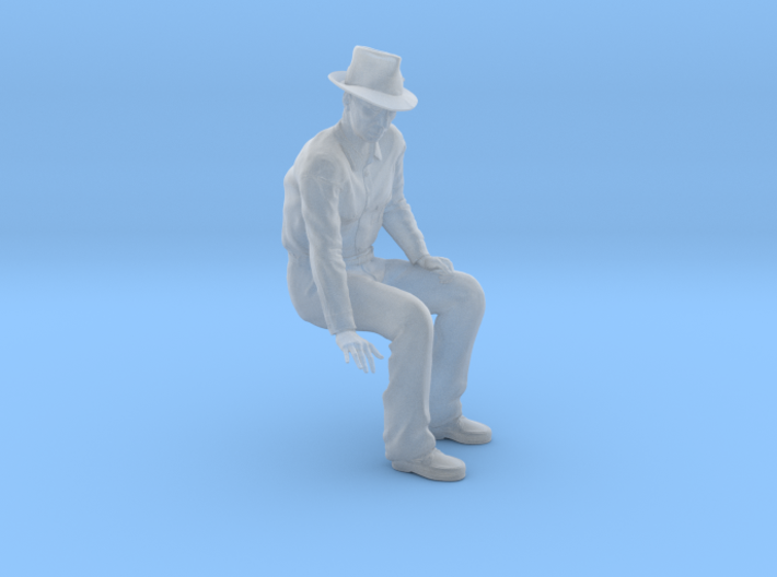 NG Fred sitting on bench wearing hat 3d printed