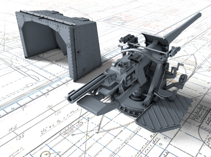 "1/350 4.7""/45 QF MK IX CPXVII Guns Ports Closed x4 3d printed 3d render showing product detail"