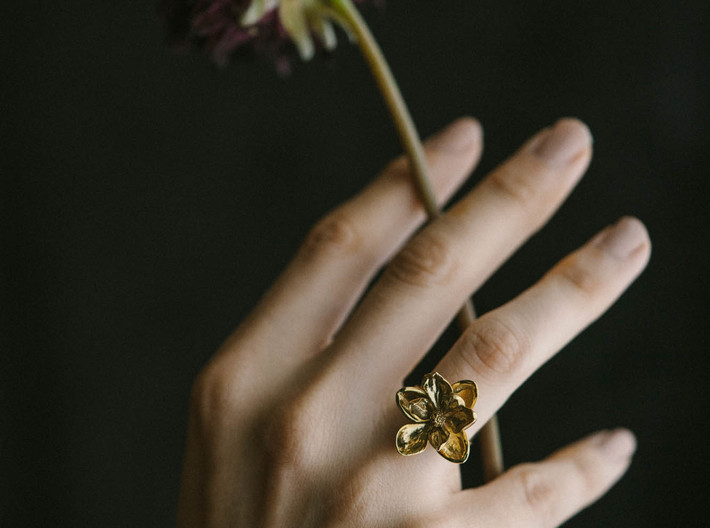 Magnolia Ring 3d printed