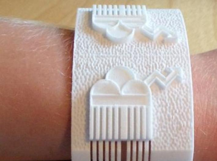 Raincloud bracelet 3d printed White Strong & Flexible, on a 7yr old's arm