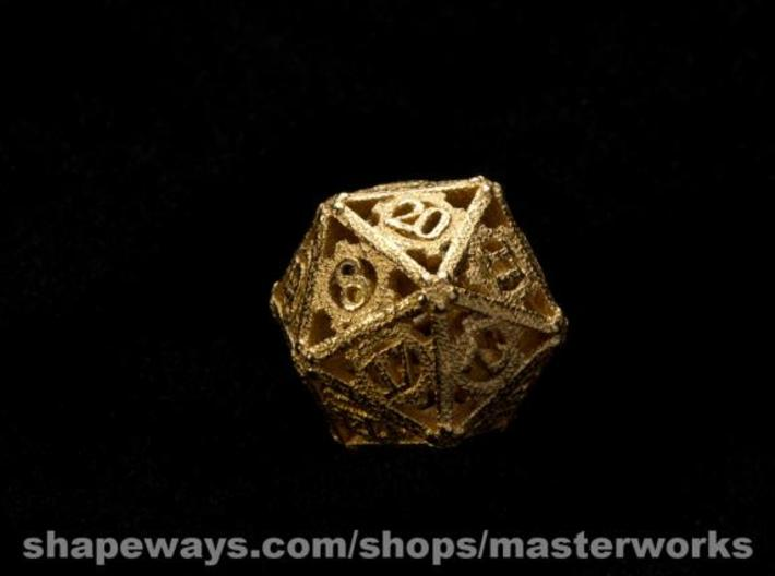 Steampunk d20 3d printed Gold Plated Glossy