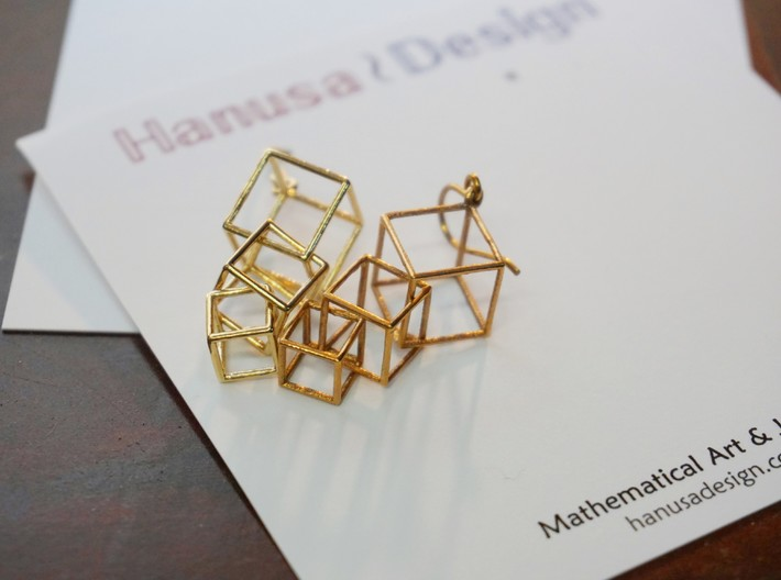 Dangling Cubes Earrings 3d printed Dangling Cubes Earrings in Raw Brass and Raw Bronze