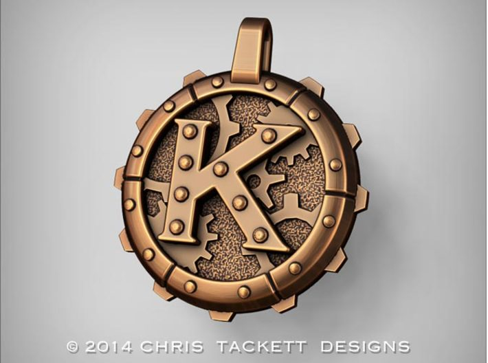 "Steampunk Monogram Pendant ""K"" 3d printed ZBrush Rendering approximating a bronze finish. Actual Bronze finish may look a bit different."