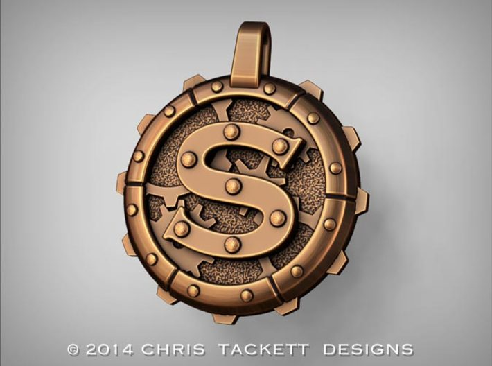 "Steampunk Monogram Pendant ""S"" 3d printed ZBrush Rendering approximating a bronze finish. Actual Bronze finish may look a bit different."