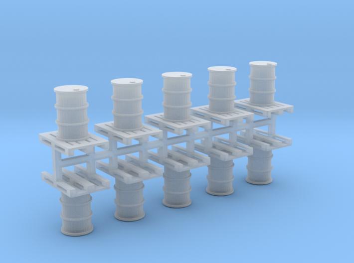200 Liter Faß auf Europalette 10er Set - 1:87 H0 3d printed