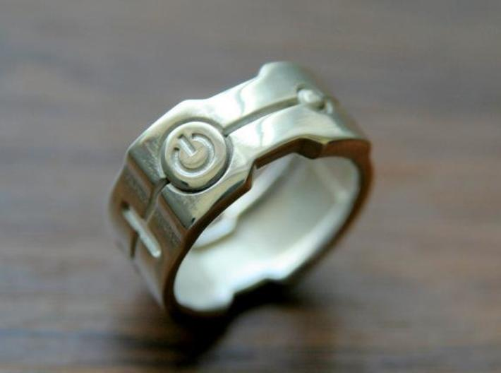 Power icon Ring 3d printed This material is Polished Silver