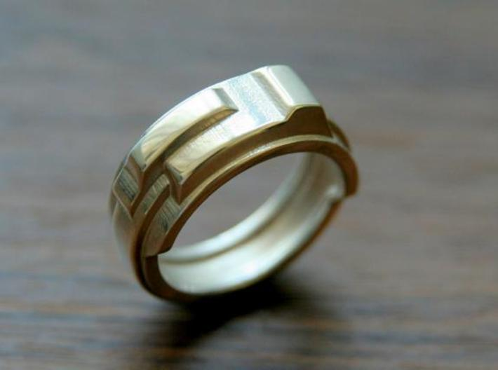 Techno ring 3d printed This material is Polished Silver