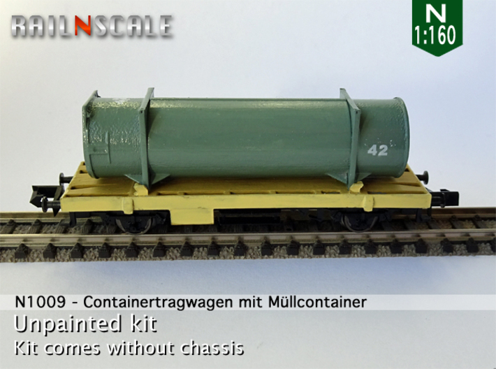 Containertragwagen mit Müllcontainer (N 1:160) 3d printed