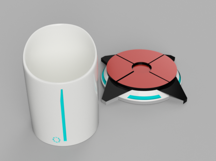 Portal ® Coffee Cup Stand - Portal 2 button 3d printed