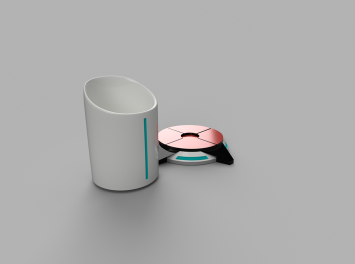 Portal ® Coffee Cup Stand - Portal 2 button 3d printed Cup Stand & Cup front-right view