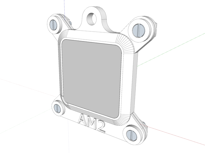Socket AM2 CPU Bauble Single 3d printed The assembly as viewed in Sketchup.
