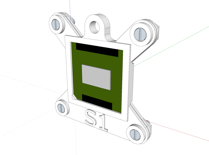Socket S1 CPU Bauble Single 3d printed Front of assembly as viewed in Sketchup.