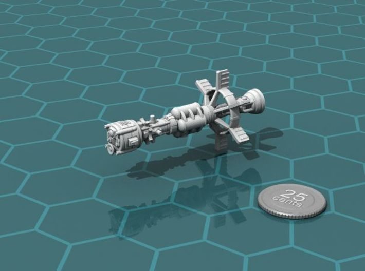 Earther Gunboat Carrier 3d printed Render of the model, with a virtual quarter for scale.
