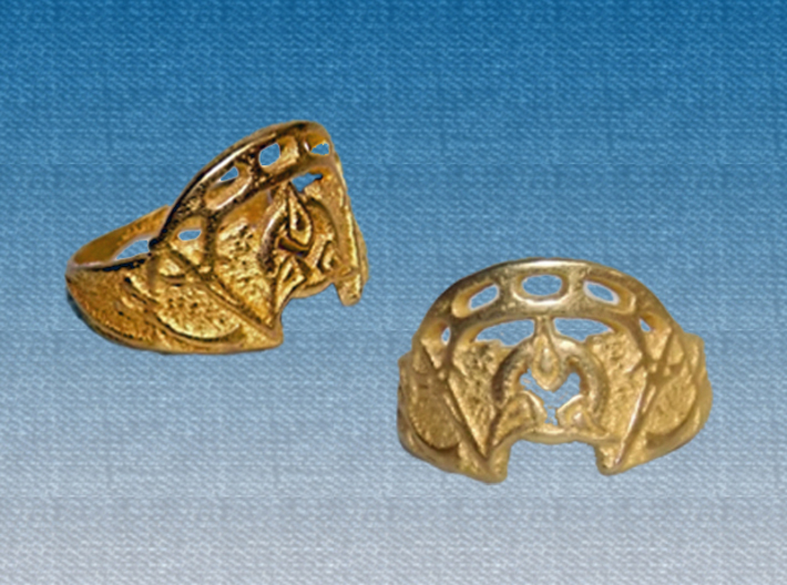 Dahar Master Ring 3d printed Polished Gold Steel - two views