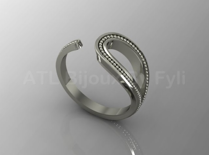 Beaded Loop Ring with Open Shank 3d printed White Gold