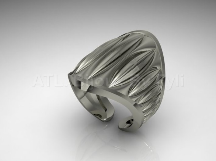 Cocoa Pod Ring – Size 5 - 8 3d printed White Gold