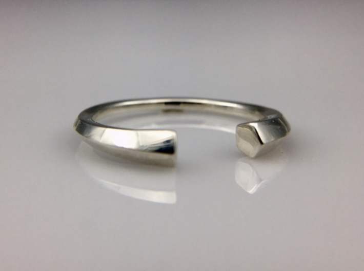 Open Pentagon Ring 3d printed Photo of 3D printed product in Polished Silver