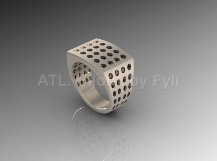 Chevalière Style Ring with Polka-Dots 3d printed Silver